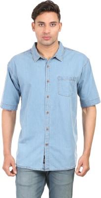 Right Shape Men's Solid Casual Denim Blue Shirt