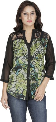 Kodlif Women's Floral Print Casual Green, Black Shirt