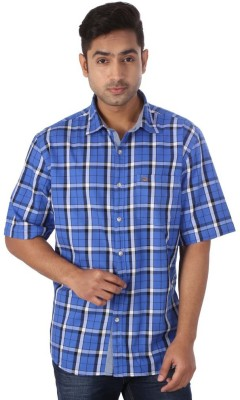 Warewell Men's Checkered Casual Blue Shirt