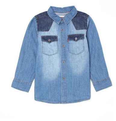 Levis Boys Solid Casual Denim Blue Shirt