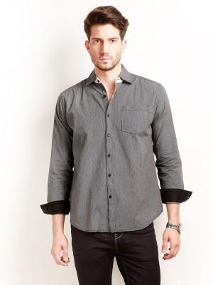 Change 360 Men's Checkered Formal Black Shirt