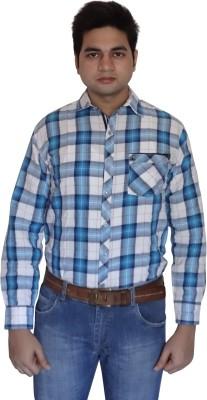 London Fog Men,s Checkered Casual Linen Blue, White Shirt