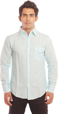 Nick & Jess Men's Solid Casual Linen Blue Shirt