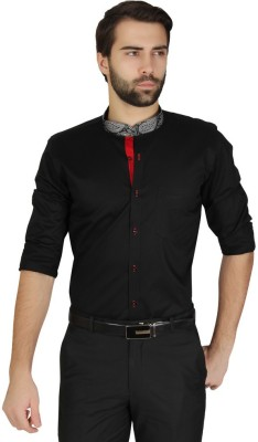 Redcountry Men's Solid Party Black Shirt