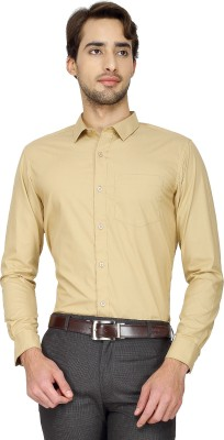 Cotton Power Men's Solid Formal Beige Shirt