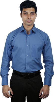 Nerellaas Men's Solid Formal Light Blue Shirt