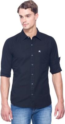 Shield & Sword Men,s Solid Casual Linen Black Shirt