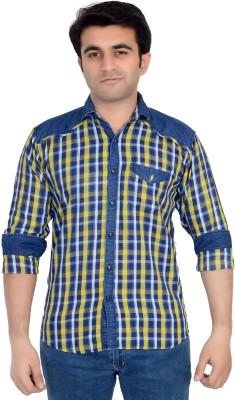 High Hill Men's Checkered Casual Denim Yellow Shirt