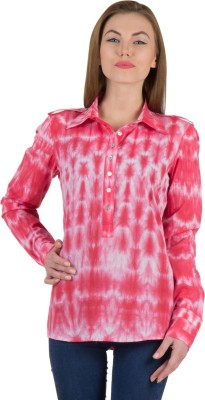 Famous by Payal Kapoor Women's Printed Casual Red Shirt