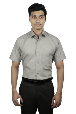 Nerellaas Men's Solid Formal Grey Shirt