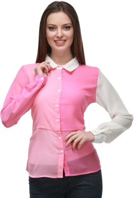 Quest Women's Solid Casual Pink, White Shirt