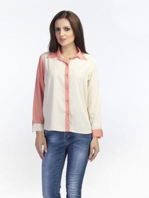 Schwof Women's Solid Casual Beige Shirt