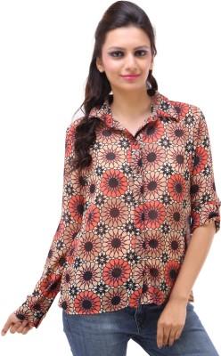Kashana Fashions Women's Floral Print Casual Orange Shirt