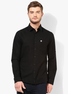 Erza Men's Solid Casual Black Shirt