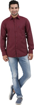 Haberfield Men's Solid Casual Maroon Shirt