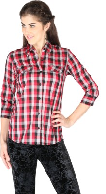 La Vida Women's Checkered Casual Red, Black, Grey Shirt