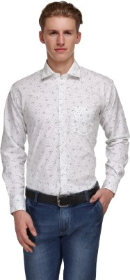 Ausy Men's Printed Casual White, Green Shirt