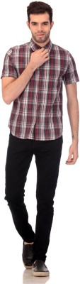 CLAUDE 9 Men's Checkered Casual Red Shirt