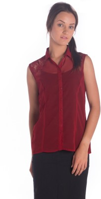 Miss Rich Women's Solid Casual Maroon Shirt