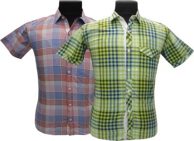 BK Black Men's Checkered Casual Pink, Blue, Green Shirt