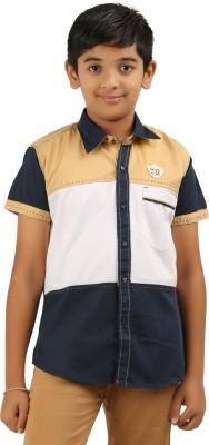Cub Kids Boy's Printed Casual Beige, White, Dark Blue Shirt