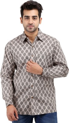 Padmini Negotium Men's Self Design Casual Grey Shirt