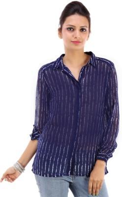 Urban Religion Women's Printed Casual Blue Shirt