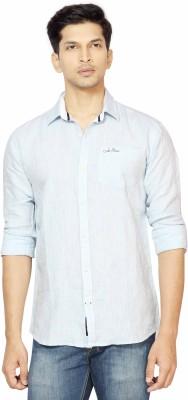 La Seven Men,s Solid Casual Linen Light Blue Shirt