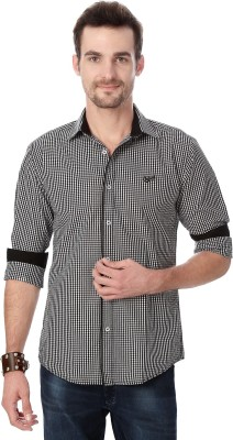 University of Oxford Men's Checkered Casual Black Shirt