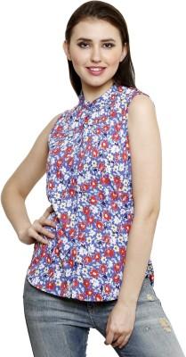Lee Marc Women's Printed Casual Blue Shirt