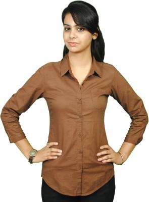 Naughty Bear Women's Solid Casual Brown Shirt