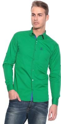 Pazel Men's Solid Casual Green Shirt