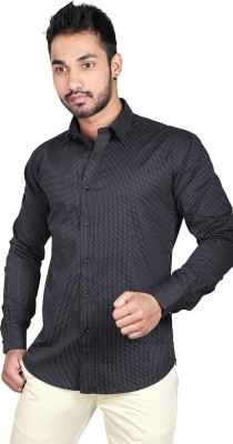 Just Differ Men's Polka Print Casual Black, White Shirt