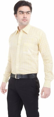 Angels Choice Men's Striped Casual Yellow Shirt