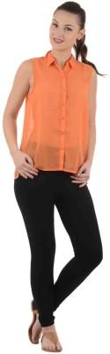 UrbanRebels Women's Solid Casual Orange Shirt