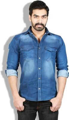 Goswhit Men's Solid Casual Blue, Dark Blue Shirt