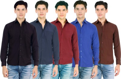 Atmosphere Men's Solid Formal Black, Blue, Maroon, Dark Blue, Brown Shirt