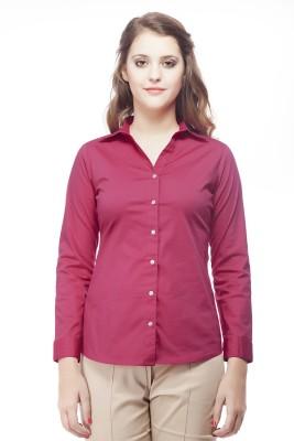 ORIANNE Women's Solid Formal Pink Shirt
