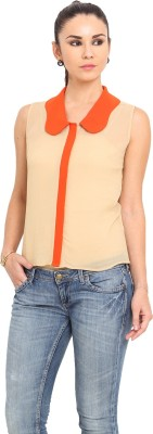 MSMB Women's Solid Casual Orange, Beige Shirt