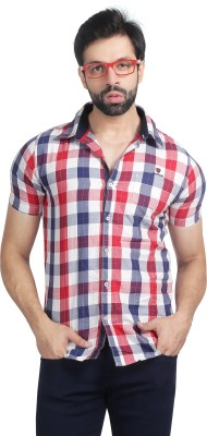 Nostrum Jeans Men's Checkered Casual Red, White, Blue Shirt