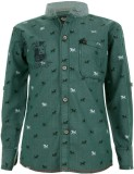 Einstein Boys Printed Casual Green Shirt