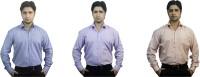 Kvm Formal Shirts (Men's) - KVM Men's Checkered Formal Grey, Purple, Orange Shirt(Pack of 3)
