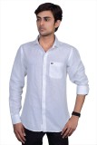 Grey Booze Men's Solid Casual Linen Whit...