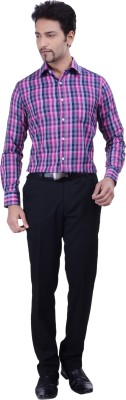 Validus Men's Checkered Formal Purple Shirt