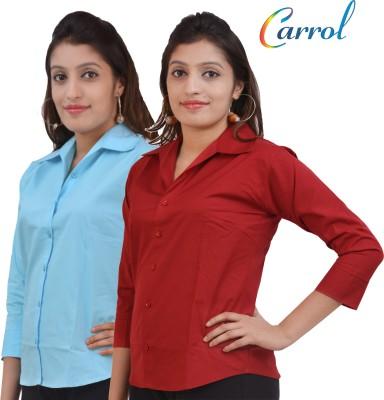carrol Women's Solid Casual, Formal Orange, Brown Shirt