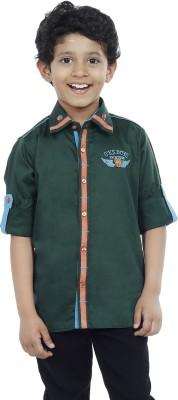 OKS Boys Boy's Solid Casual Green Shirt