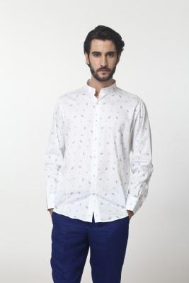 Yell Men's Printed Formal, Casual, Festive Blue, White Shirt