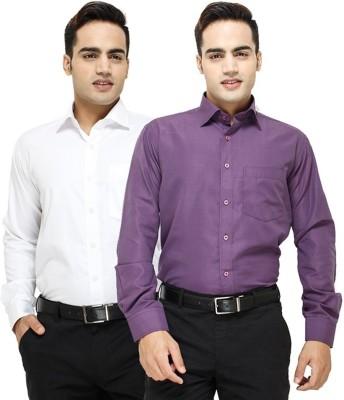 Siz Fashion Men's Solid Casual Reversible White, Purple Shirt