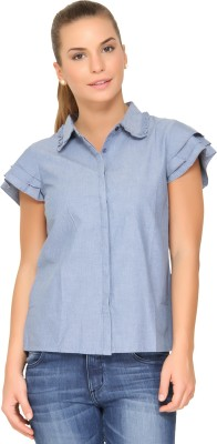 Alibi By Inmark Women's Solid Casual Light Blue Shirt