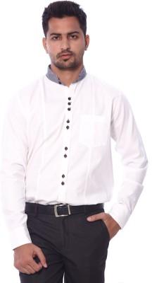 Roger Clothier Men's Solid Formal White Shirt